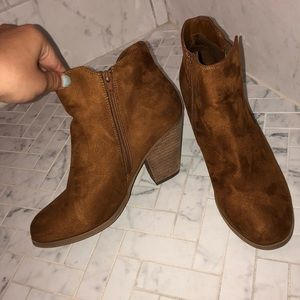 Suede brown booties